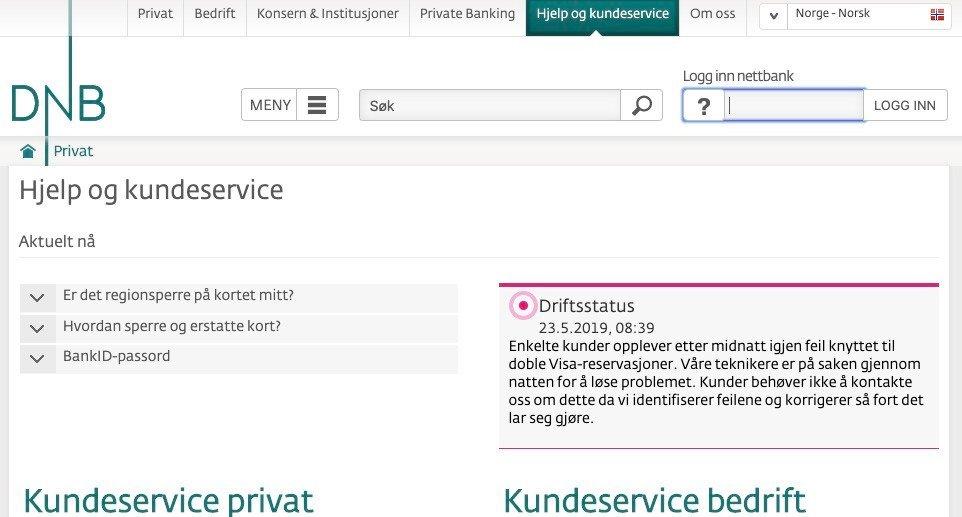 DNBvarslet på sine hjemmesider torsdag morgen at tekniske problemer fortsatt gjorde at enkelte av bankens kunder hadde blitt trukket dobbelt ved Visa-reservasjoner. Foto: Skjermdump / NTB scanpix