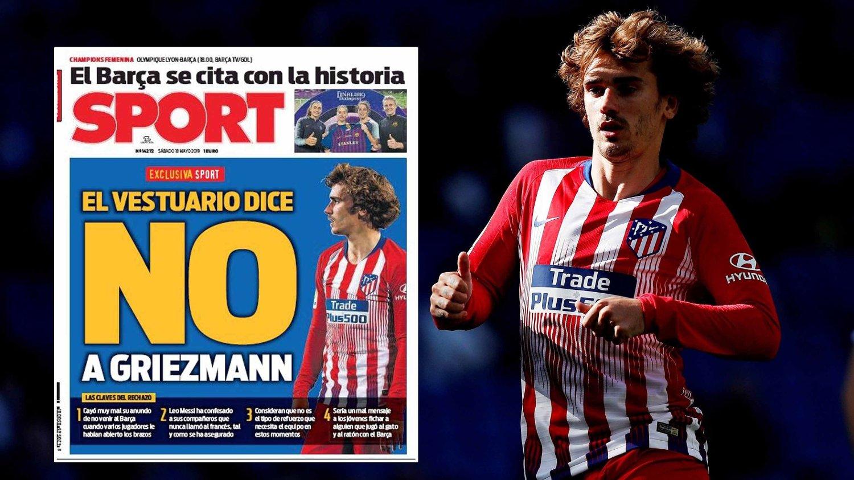 GARDEROBEN SIER NEI: Denne forsiden fra spanske Sport skal ha gjort Antoine Griezmann fly forbanna.