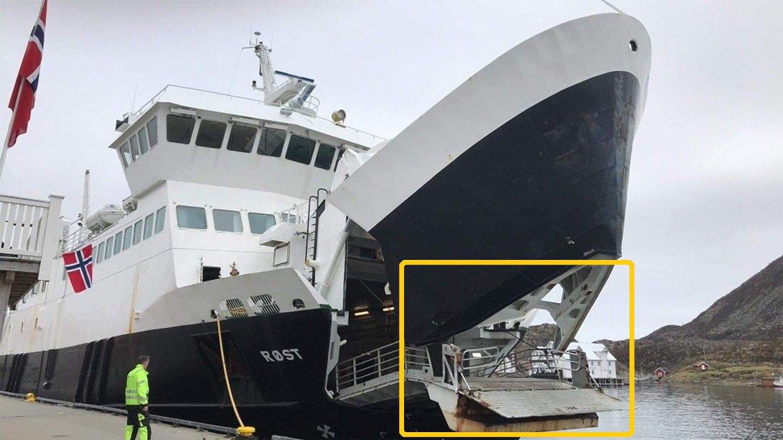 SMALT RETT I KAIA: MS Røst dundret rett inn i kaia den 17. mai. Bak roret sto det en matros, ikke en kaptein eller overstyrmann.