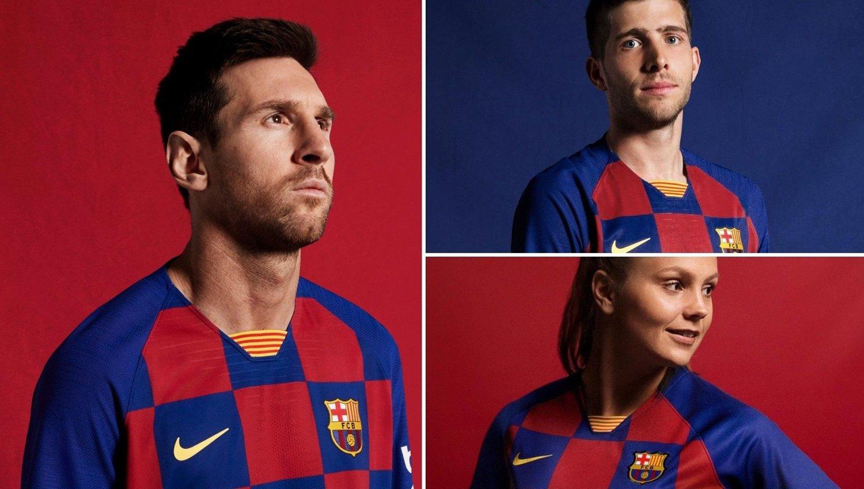 RUTETE: Det er foreløpig uklart om Barcelona endrer spillemønster til neste sesong, men for mange blir det nok uvant å se klubbens stjerner med et annet mønster på draktene. Her representert ved Lionel Messi (til venstre), Sergi Roberto og Lieke Martens (nederst til høyre).