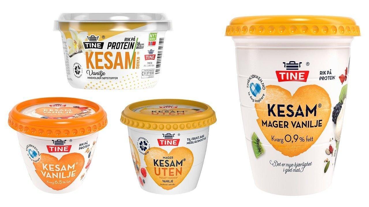 KESAM + VANILJE: Kesam Vanilje (original), Kesam Vanilje (rik på protein), Kesam UTEN Vanilje Mager og Kesam Mager Vanilje er tilsynelatende veldig like.
