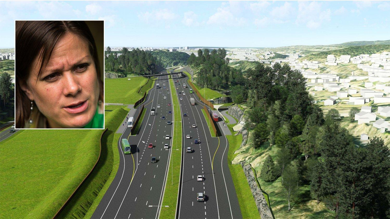 KRIG: Byråd for byutvikling Hanna Marcussen fra MDG (innfelt) går til krig mot motorveien E6 Øst i Oslo.