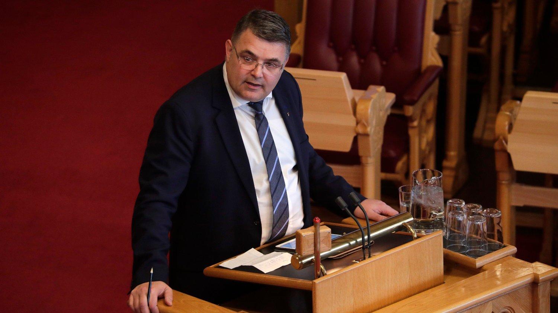HØY TEMPERATUR : Olje- og energiminister Kjell-Børge Freiberg (Frp) provoserer SV med sitt svar til Stortinget.