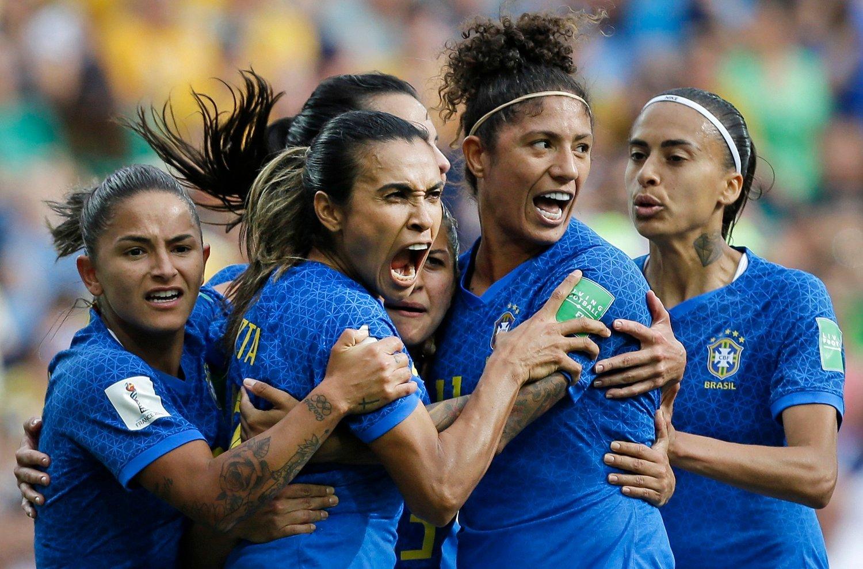 Marta scoret mot Australia, men Brasil tapte 2-3. Foto: Claude Paris/AP Photo/NTB scanpix.