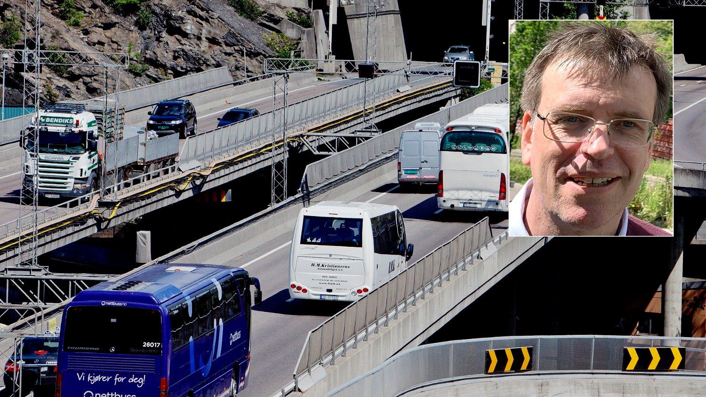 VIL FLYTTE E6: - Tungtrafikken må bort fra Groruddalen. Det er et bra miljøtiltak for byen, mener partiets oslotopp Bjørn Revil (innfelt). Foto: Stian Lysberg Solum / NTB scanpix / Morten Solli