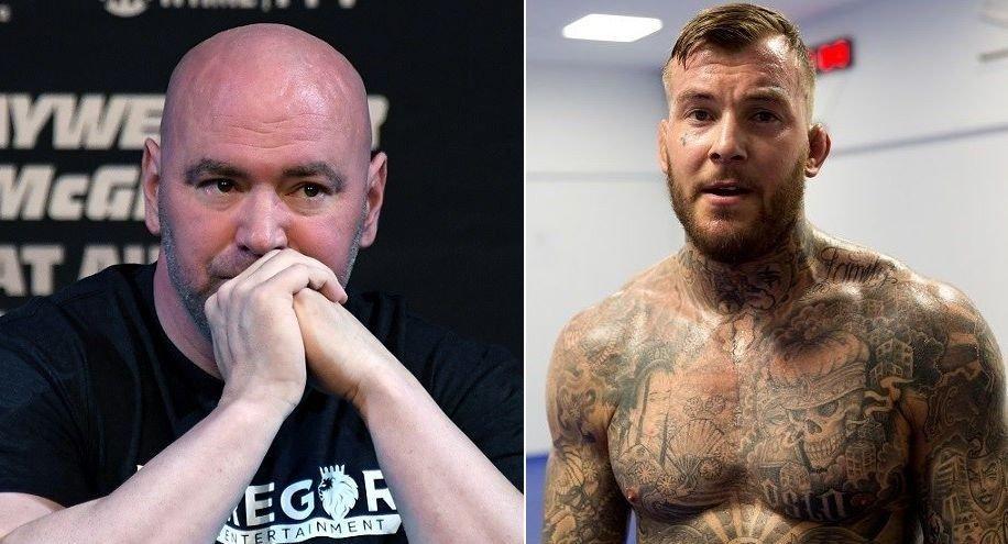 MÅ IMPONERE UFC-SJEFEN: UFC-president Dana White (t.v.) sitter ringside når Kenneth Bergh fra Oslo møter brasilianske Antonio Trocoli i Las Vegas natt til onsdag.