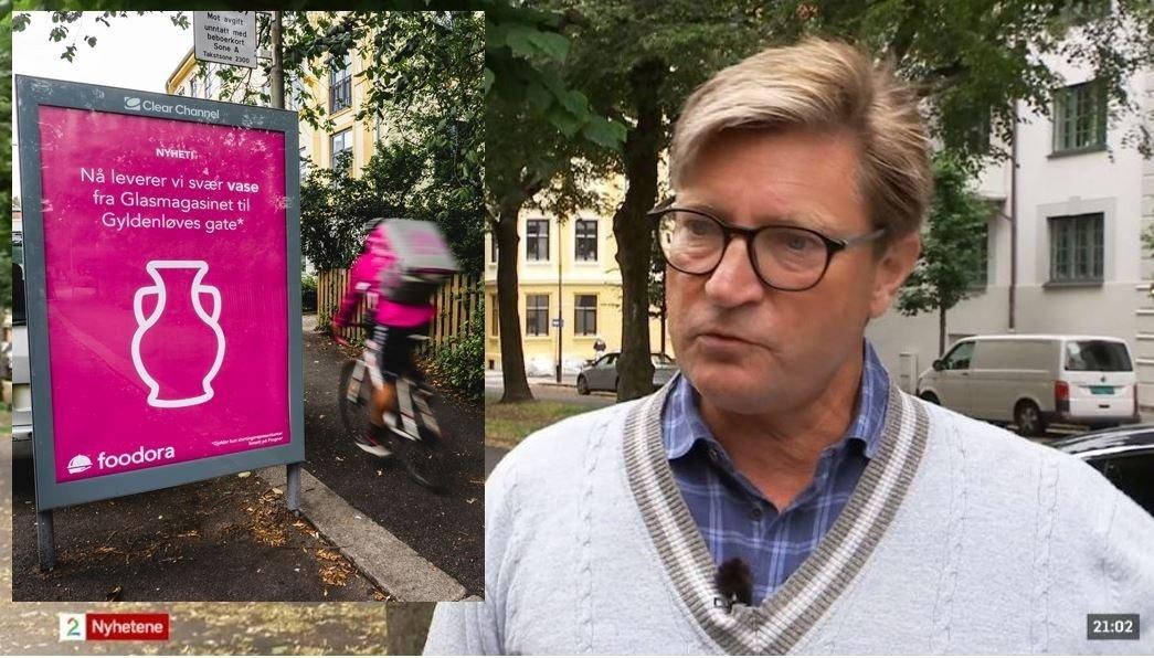 Christian Tybring-Gjedde (Frp) forklarte til TV 2 hvor vanskelig det var å sykle en vase hjem til Frogner fra Oslo. Matvaredistributøren Foodora svarte kjapt.