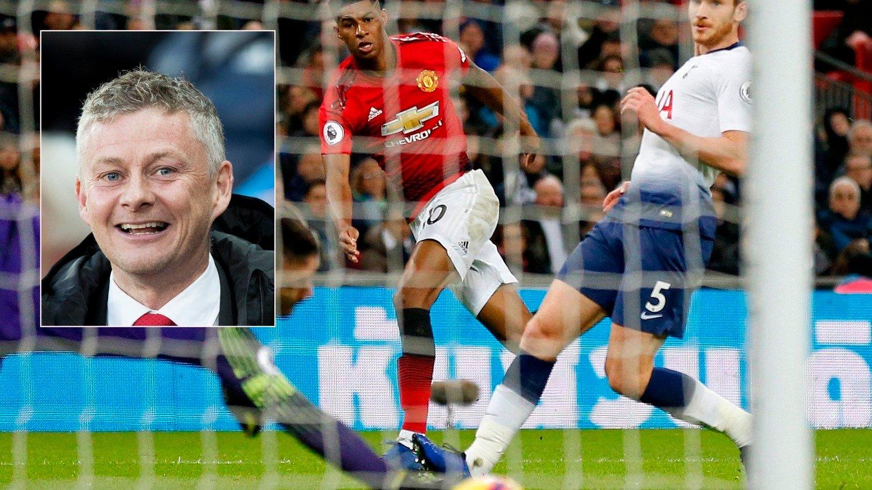 DYRT: Manchester Uniteds Marcus Rashford scorer mot Tottenham i januar. Solskjær fornøyd (innfelt). Nordmenn må ut med dobbelt så mye som danske og svensker for kombinasjonen Champions League og Premier League.