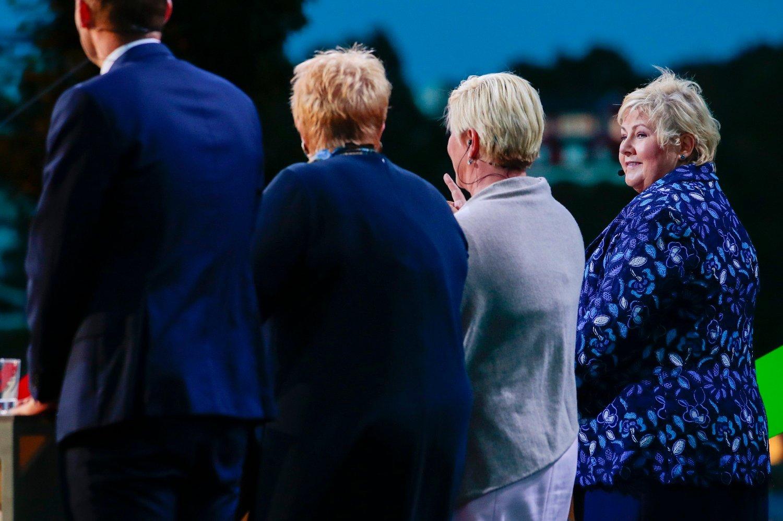 Erna Solberg (H), Siv Jensen (Frp), Trine Skei Grande (V) og Kjell Ingolf Ropstad (KrF) under partilederdebatten fra Arendalsuka mandag kveld.