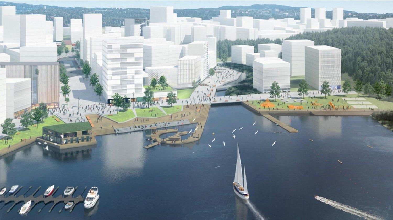 Slik ser utbyggingsplanene ved Bestumkilen ut. I dag er området i stor grad parkeringsplasser, mens mange ønsker at det skal skapes et parkområde.