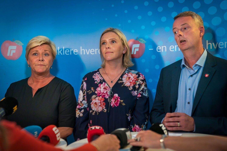 NEDTUR: Frp-leder Siv Jensen og hennes to nestledere, Sylvi Listhaug og Terje Søviknes, det dårligste resultatet som Sentio har målt på Nettavisen og Amedias augustmåling.