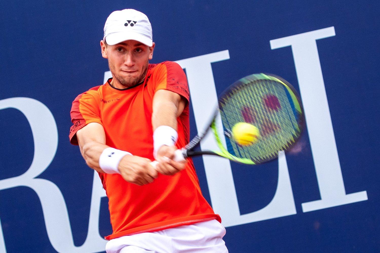 Casper Ruud måtte se seg slått ut av ATP-turneringen i Winston-Salem onsdag. Her er han i aksjon i ATP-turneringen i Kitzbühel nylig. Foto: Johann Groder /APA / NTB scanpix