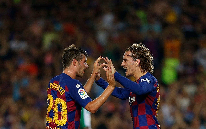 Antoine Griezmann scoret for Barcelona søndag. Foto: Joan Monfort / AP / NTB scanpix