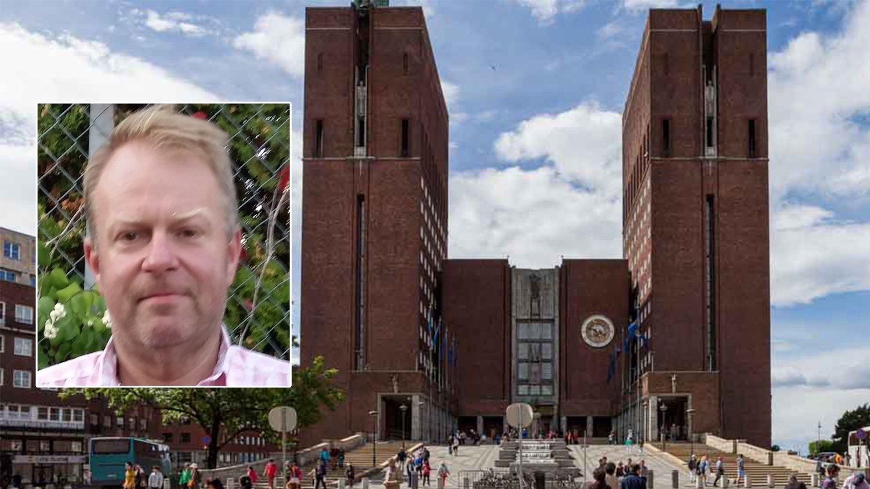 FRUSTRERT: Hans-Peter Lannerstedt (innfelt) var frustrert på ordfører Marianne Borgen (SV) etter flere gjester ble stående fast i heisen i tre og en halv time, fordi heismontøren ikke fant parkeringsplass.