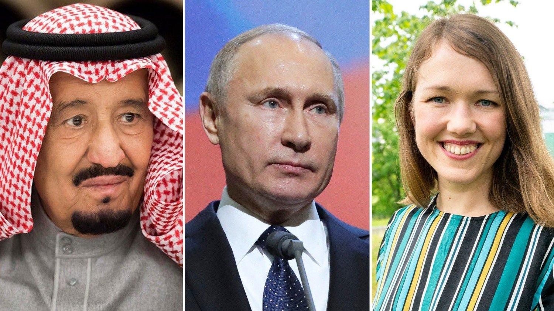 ENORME KONSEKVENSER: Hvis Une Bastholm og MDG får stanset norsk oljeproduksjon, vil ikke verdens forbruk av olje gå ned. Saudi-Arabias kong Salman og Russlands president Vladimir Putin vil profitere stort ved å forsyne verden med oljen Norge lar være å selge.