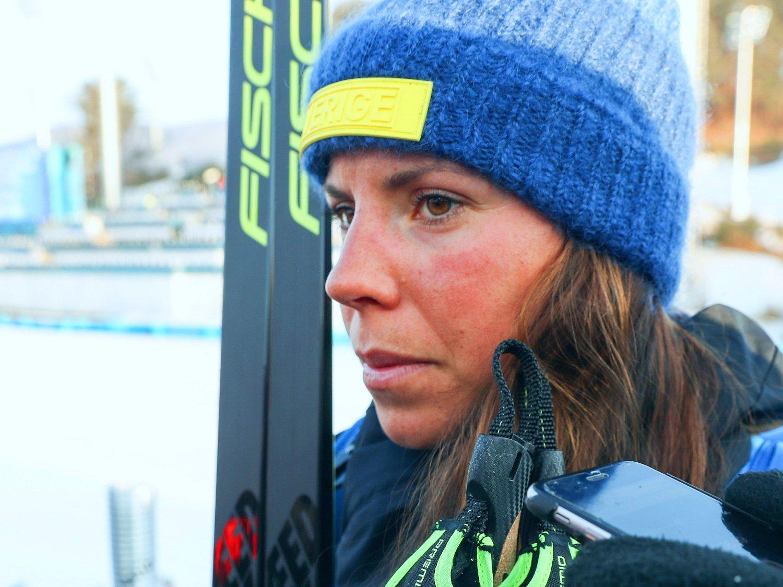 OPPLEVD MYE: Charlotte Kalla er en av langrennselitens mest rutinerte utøvere, men har neppe opplevd mer uro rundt Sveriges landslag enn nå. Her er hun avbildet i Pyeongchang i 2018.
