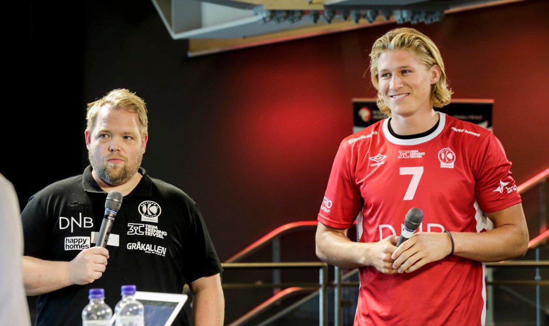 Kolstad-trener Stian Gomo og William Aar på Ullevål stadion.