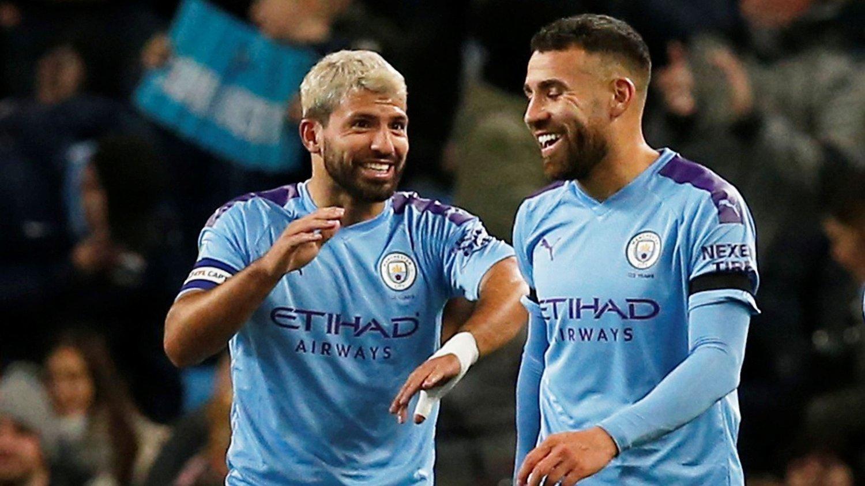 SCORET: Både Sergio Agüero og Nicolas Otamendi kom seg på scoringslisten mot Southampton.