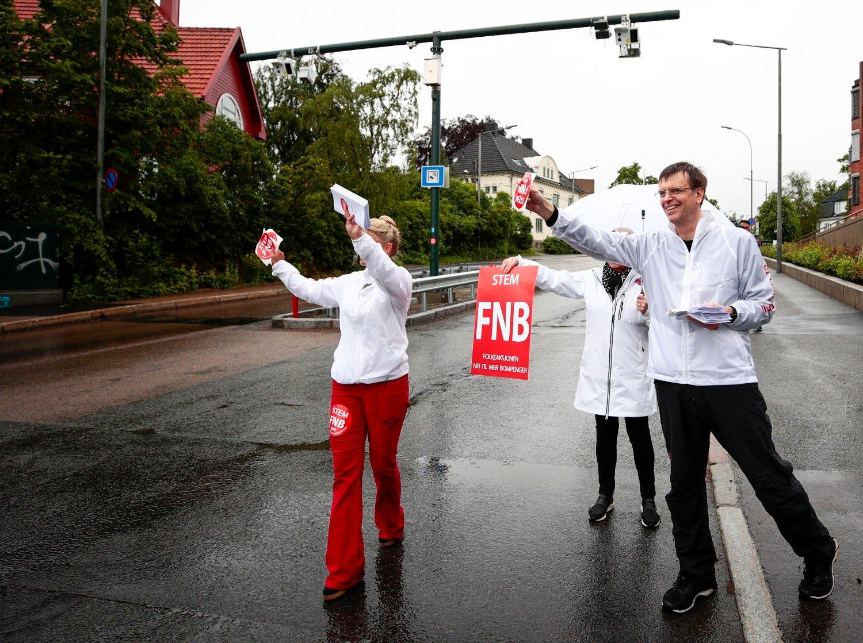 Oslo 20190601. Førstekandidat i Oslo, førstekandidat i Oslo, Bjørn Revil demonstrerer ved bommen i Middelthunsgate lørdag.