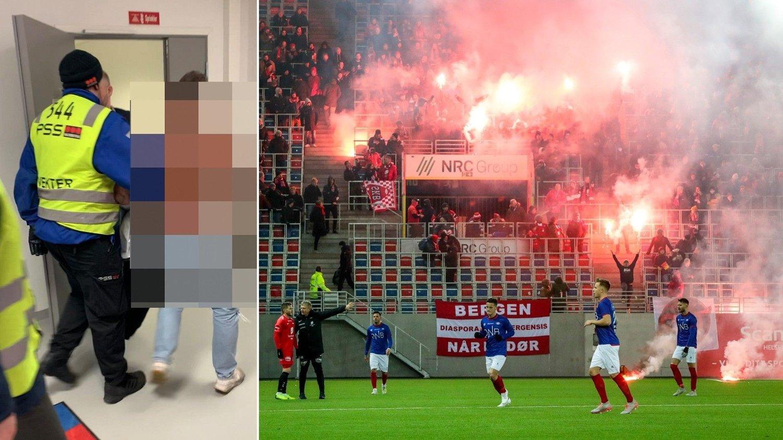 I GARDEROBEN: En supporter var på vei inn i VIFs garderobe etter kampen mot Brann, men ble raskt eskortert ut av stadion av vakter.