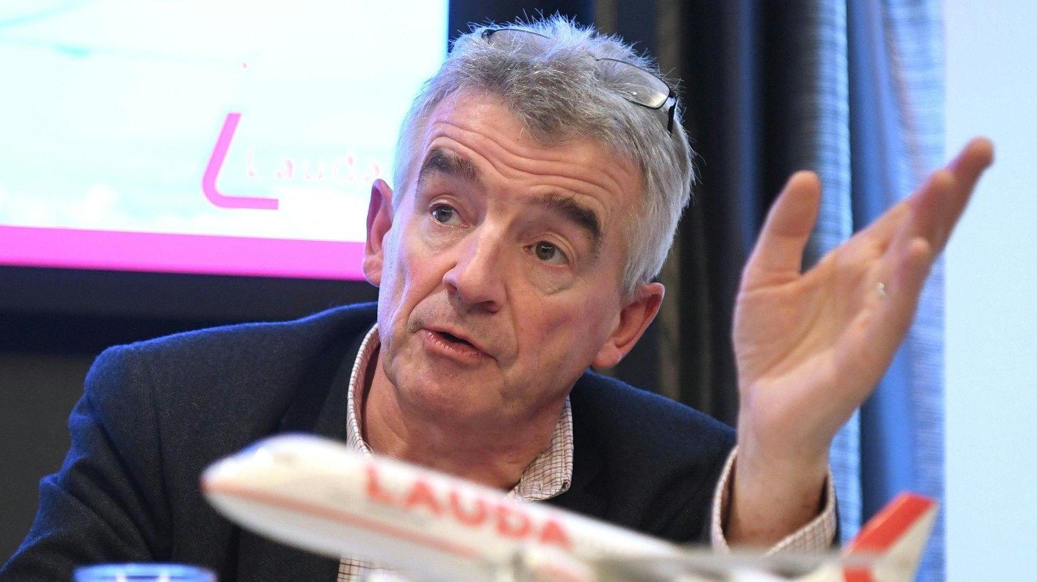 The CEO of Irish low-cost airline Ryanair Michael O'Leary gives a press conference with the Austrian low-cost airline Lauda to present among others new destinations from Austria, the summer flight plan 2020 and the extension of the fleet, on September 26, 2019 in Vienna. / Austria OUT