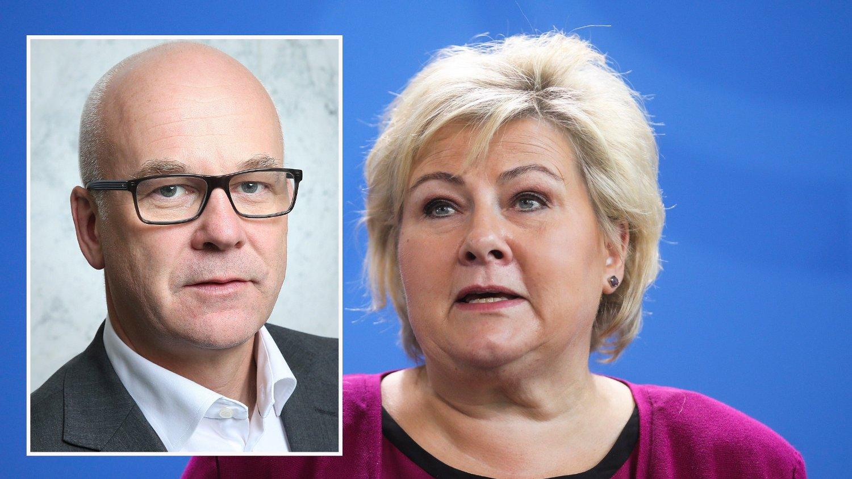 NRK-sjef Thor Gjermund Eriksen og statsminister Erna Solberg
