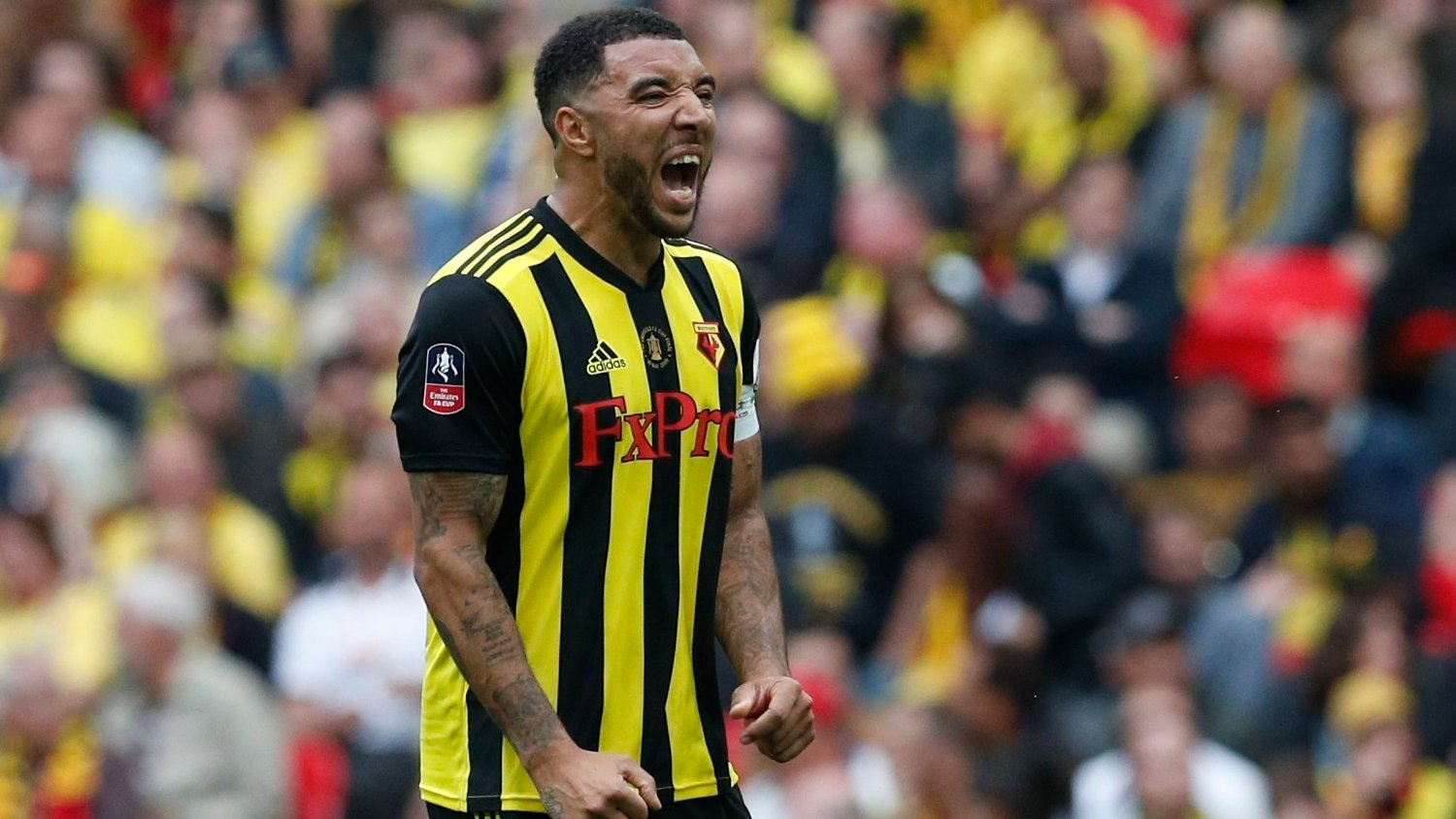 Angry Troy Deeney of Watford shouts out during the FA Cup Final match at Wembley Stadium, London. Picture date: 18th May 2019. Picture credit should read: Darren Staples/Sportimage via PA Images