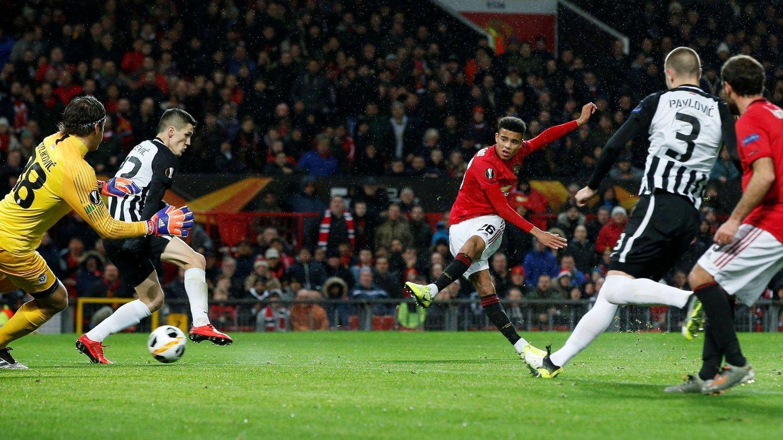 STORE FORVENTNINGER: Manchester Uniteds Mason Greenwood, her mot Partizan Beograf, er den mest spennende unggutten i United på lang tid.