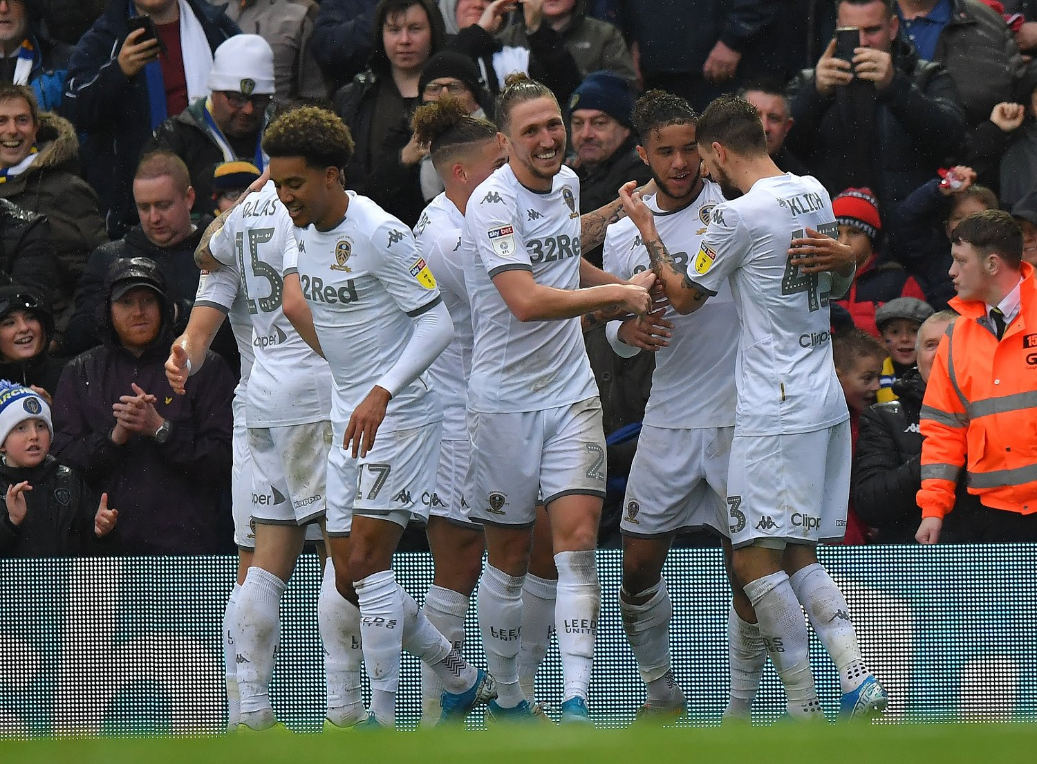 Leeds United's Tyler Roberts celebrates scoring his team's opening goal during the Sky Bet Championship match at Elland Road, Leeds.