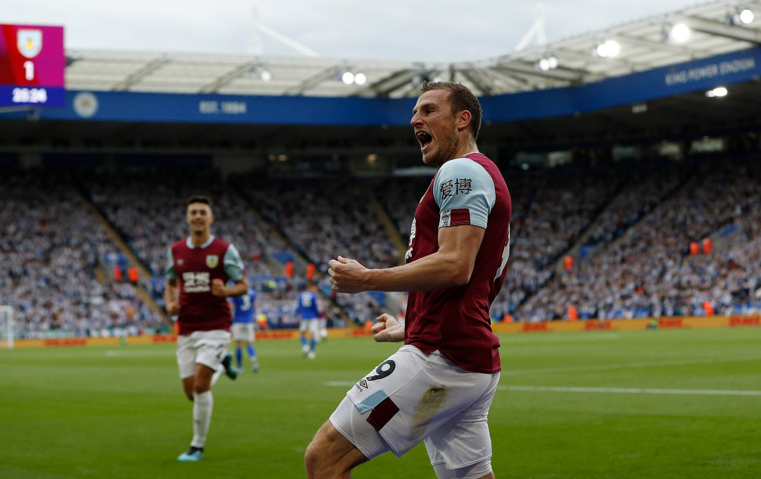 Chris Wood of Burnley celebrates scoring against Leicester City during the Premier League match at the King Power Stadium, Leicester. Picture date: 19th October 2019. Picture credit should read: Darren Staples/Sportimage via PA Images