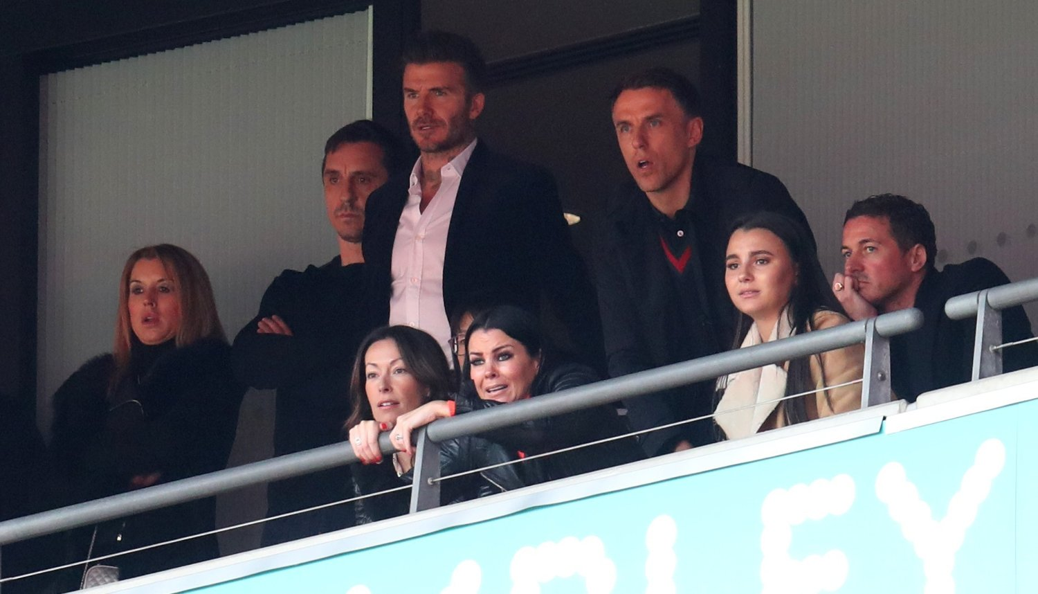 Salford City co-owners Gary Neville, David Beckham and Phil Neville watch the Vanarama National League Play-off Final at Wembley Stadium, London.