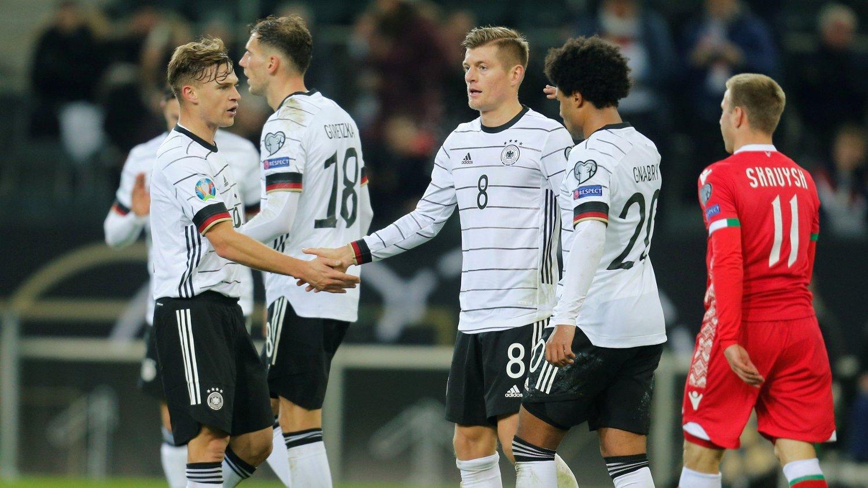 KLARE: Tyskland er klare for neste års EM etter å ha slått Hviterussland lørdag kveld.