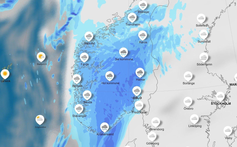 Grafikk som viser værvarselet for mandag 18. november.