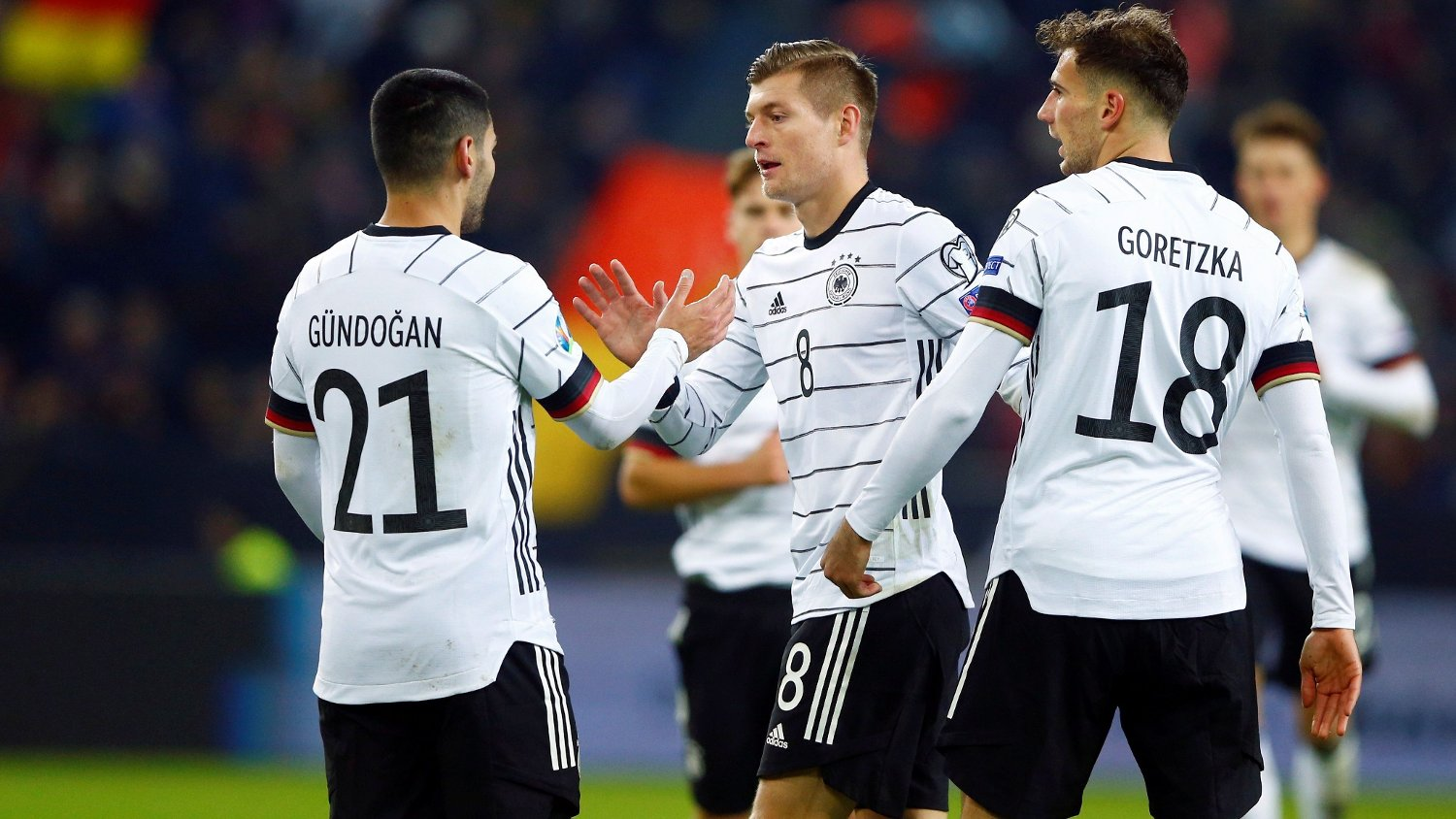 Soccer Football - Euro 2020 Qualifier - Group C - Germany v Belarus - Borussia-Park, Moenchengladbach, Germany - November 16, 2019 Germany's Toni Kroos celebrates scoring their third goal with team mates REUTERS/Thilo Schmuelgen DFL regulations prohibit any use of photographs as image sequences and/or quasi-video
