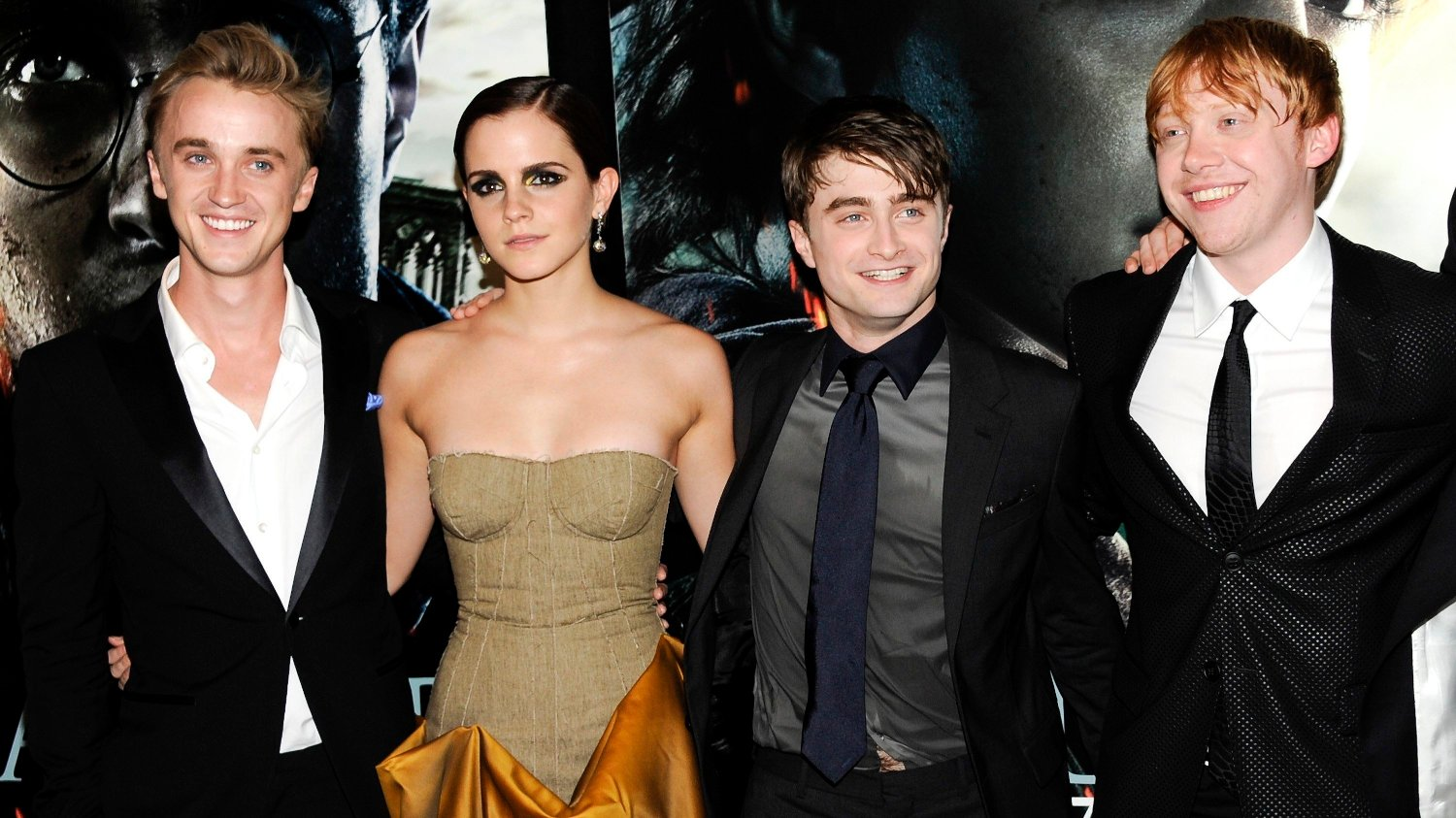 FILE - In this July 11, 2011 file photo, cast members, from left, Tom Felton, Emma Watson, Daniel Radcliffe and Rupert Grint pose together at the premiere of