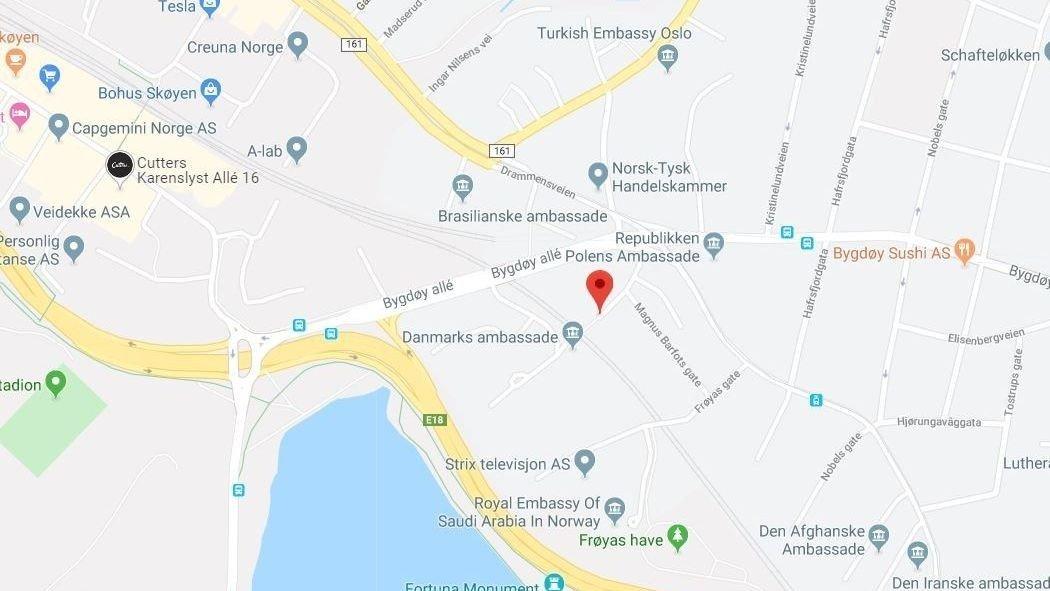 ARBEIDSULYKKE: En person falt flere meter i Olav Kyrres gate i Oslo.