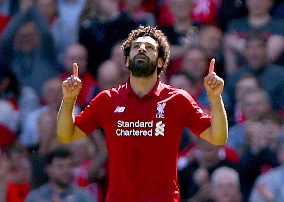Mo Salah feirer nok et mål for Liverpool.