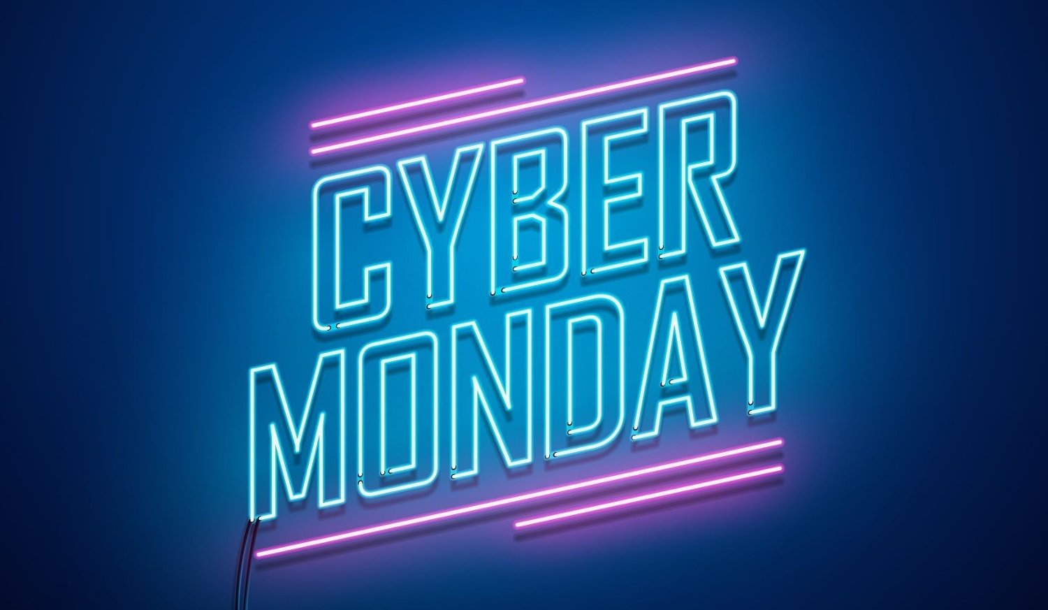 Cyber Monday background. Neon sign. Cyber Monday background. Neon sign. Vector illustration.