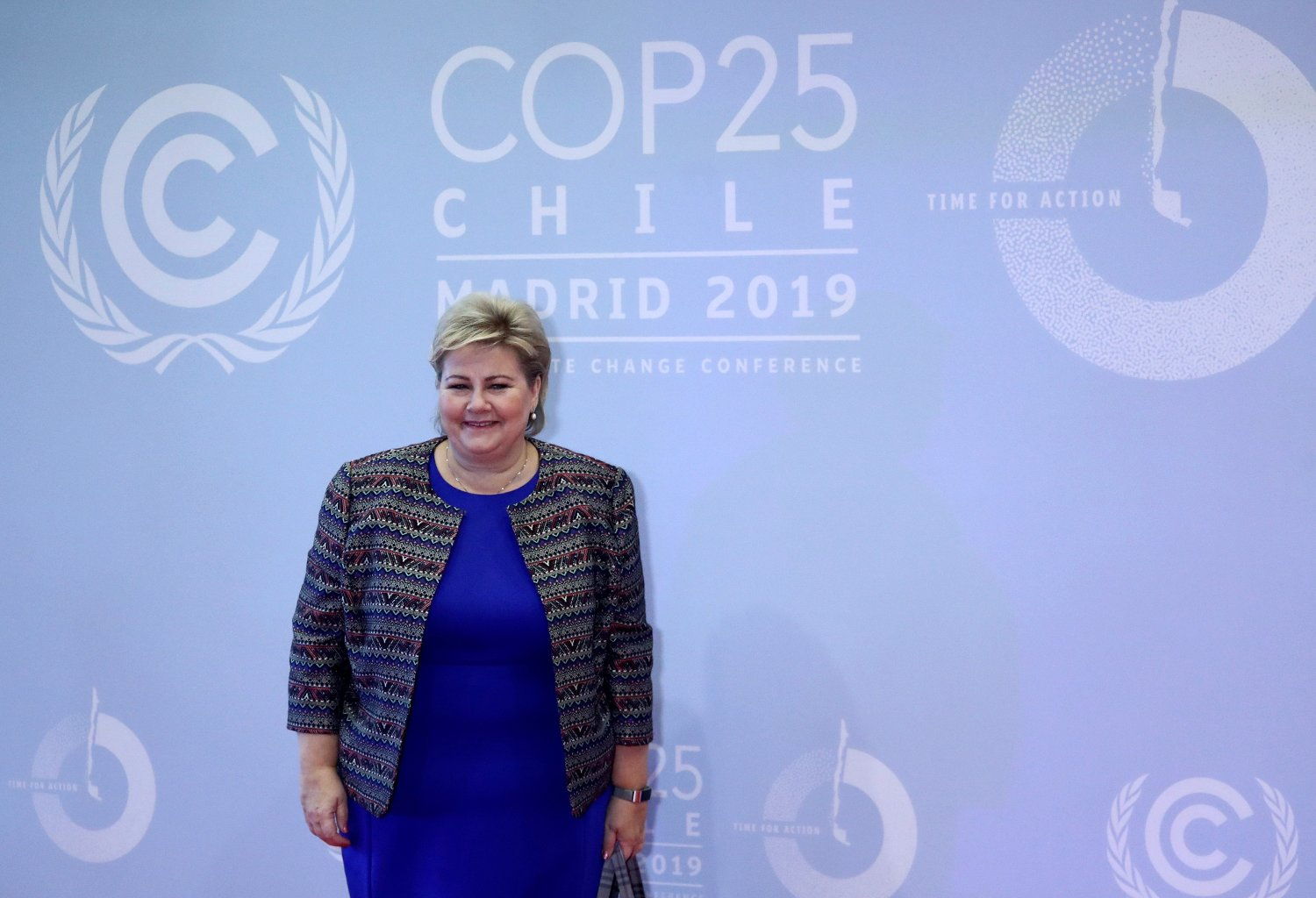 Norway's Prime Minister Erna Solberg arrives to attend the U.N. climate change conference in Madrid, Spain, December 2, 2019. REUTERS/Sergio Perez