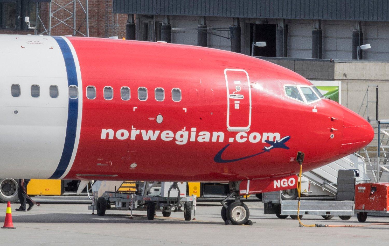 Et Norwegian-fly på Oslo lufthavn.
