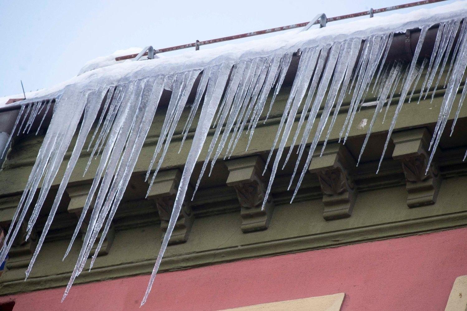 Å få en istapp i hodet kan være livsfarlig. Disse istappene ble knipset på nyåret.