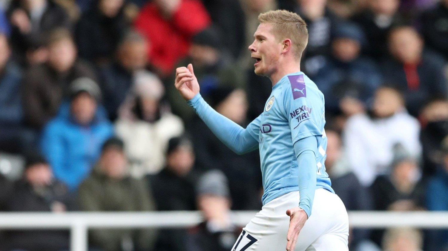 Soccer Football - Premier League - Newcastle United v Manchester City - St James' Park, Newcastle, Britain - November 30, 2019 Manchester City's Kevin De Bruyne celebrates scoring their second goal REUTERS/Scott Heppell EDITORIAL USE ONLY. No use with unauthorized audio, video, data, fixture lists, club/league logos or