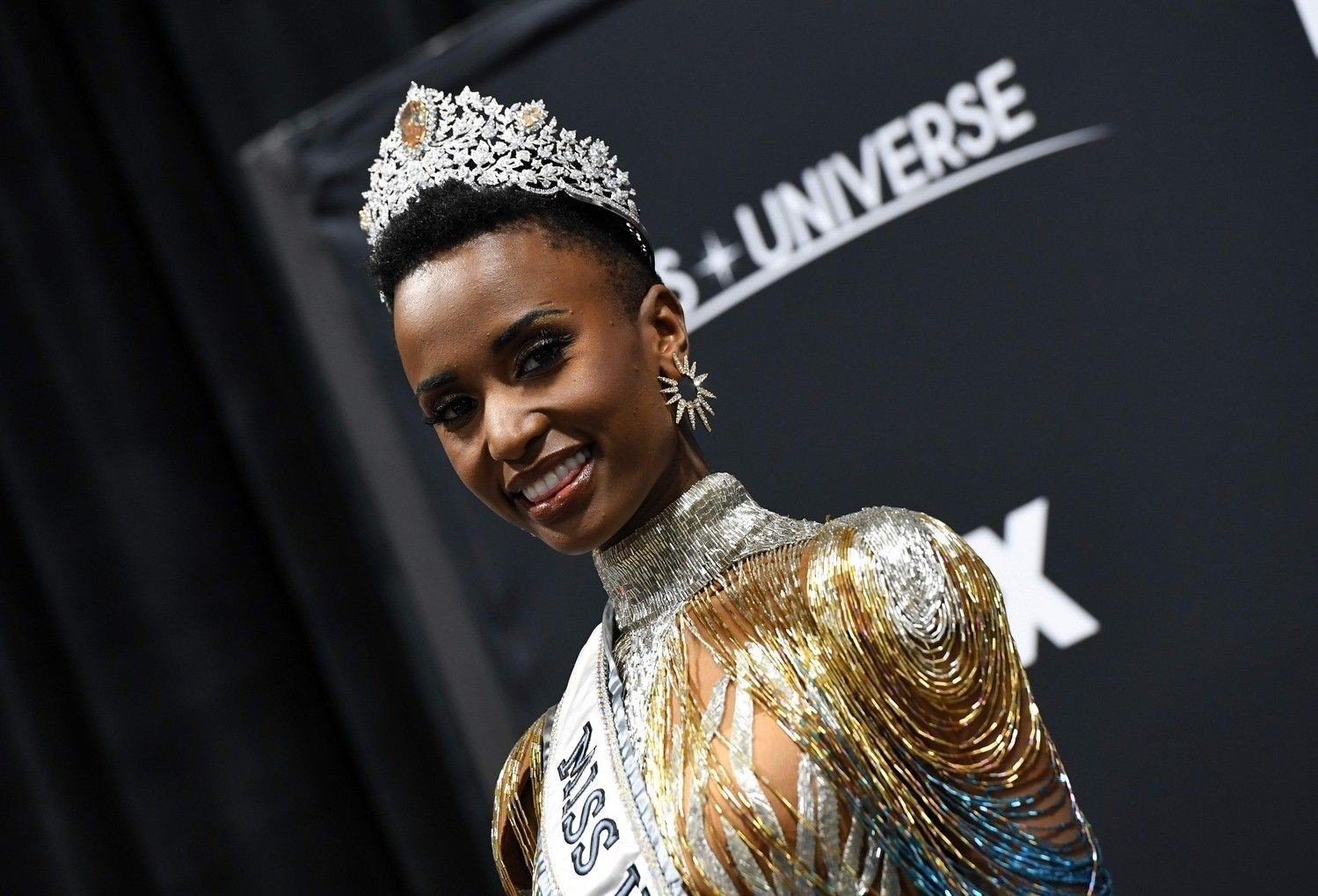 Miss Universe beauty pageant Newly crowned Miss Universe 2019 South Africa's Zozibini Tunzi poses during a press conference after the 2019 Miss Universe pageant at the Tyler Perry Studios in Atlanta, Georgia on December 8, 2019.