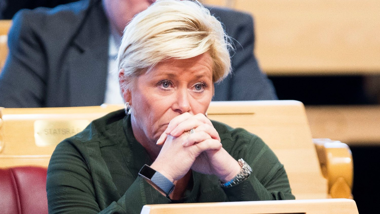 Finansminister Siv Jensen under trontaledebatten.