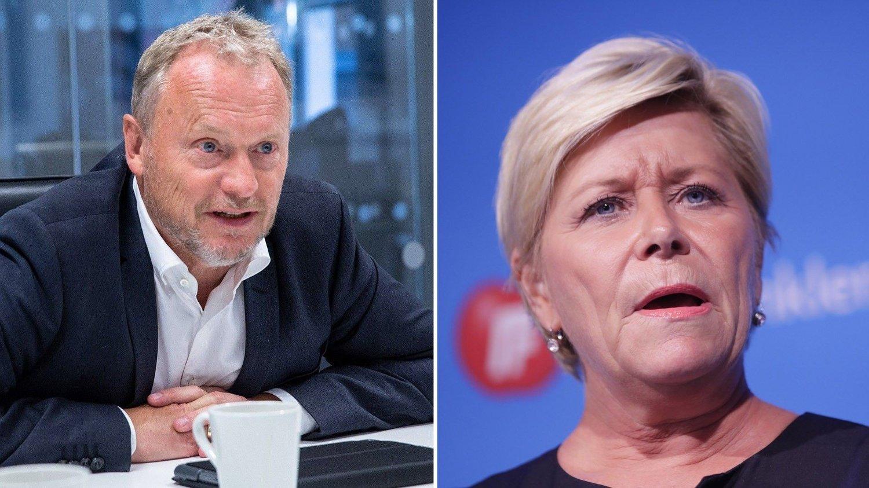 Byrådsleder i Oslo, Raymond Johansen , og finansminister og Frp-leder Siv Jensen.