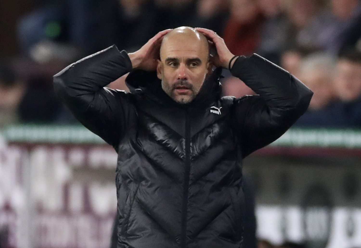 Soccer Football - Premier League - Burnley v Manchester City - Turf Moor, Burnley, Britain - December 3, 2019 Manchester City manager Pep Guardiola reacts Action Images via Reuters/Carl Recine EDITORIAL USE ONLY. No use with unauthorized audio, video, data, fixture lists, club/league logos or