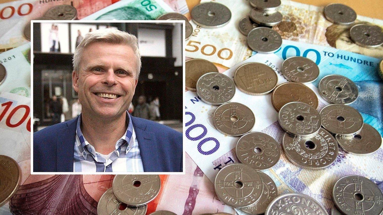Bjørn Erik Sættem og et lite hav av penger.