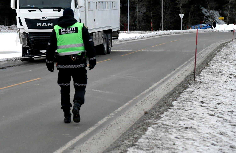 DØDE: En person omkom i en kollisjon mellom en lastebil og en personbil i Orkdal i Trøndelag mandag formiddag.