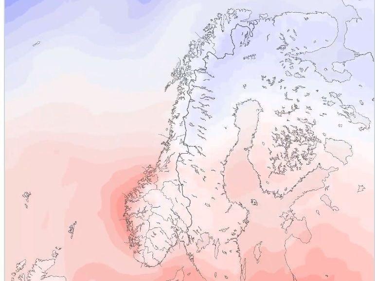 VARM LUFT: Varme luftmasser kommer inn over Sør-Norge torsdag og fredag.