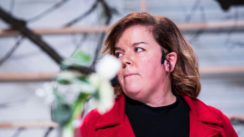 Lansering av teatervåren 2018. Oslo 20171109. Else Kåss Furuseth under presentasjonen av forestillingen